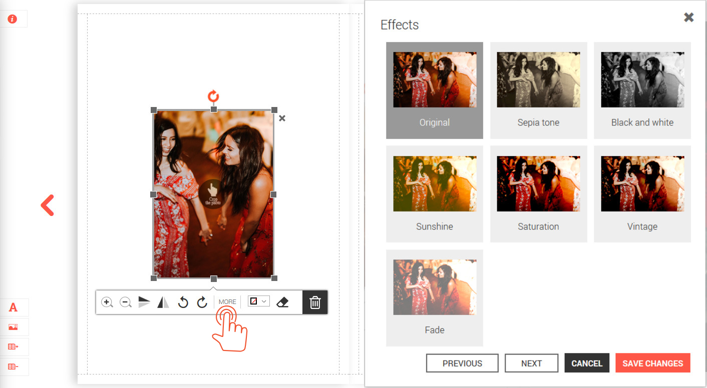 How to create a photo book effects and filters